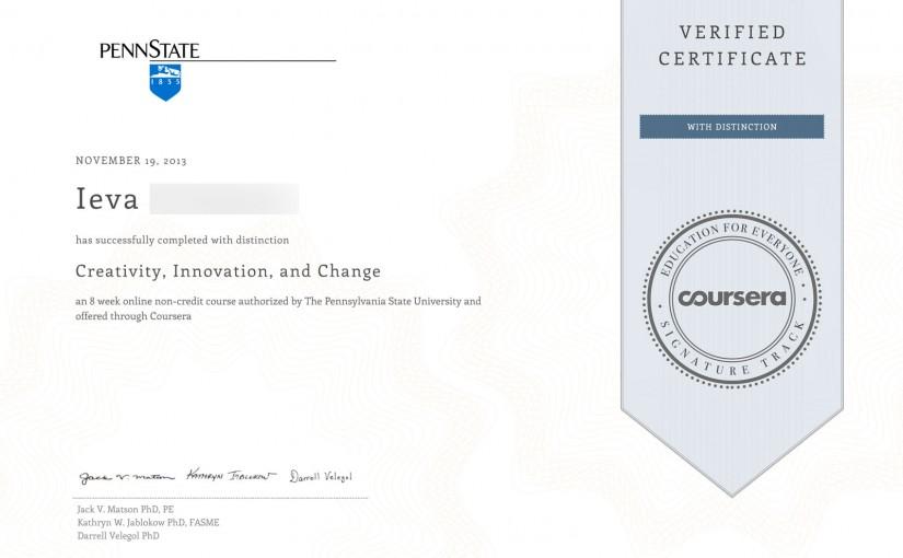 Patvirtinto Coursera sertifikato fragmentas